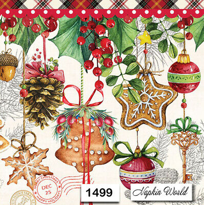 (1499) TWO Individual Paper Luncheon Decoupage Napkins - CHRISTMAS ORNAMENTS