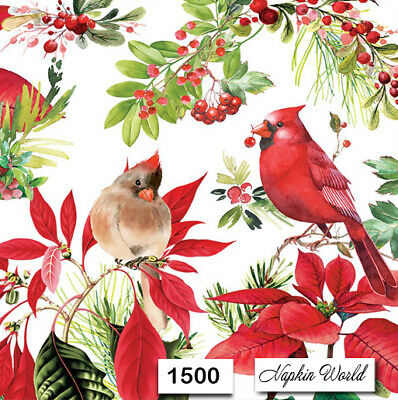 (1500) TWO Individual Paper Luncheon Decoupage Napkins - CHRISTMAS CARDINALS