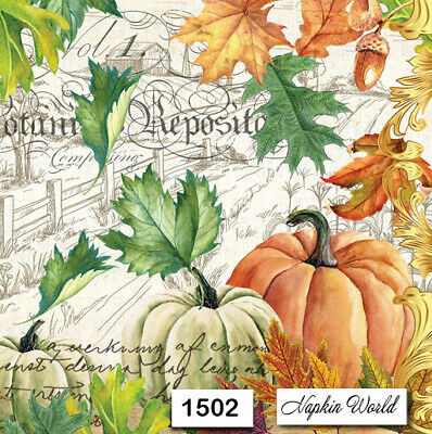 (1502) TWO Individual Paper Luncheon Decoupage Napkins - AUTUMN PUMPKINS LEAVES