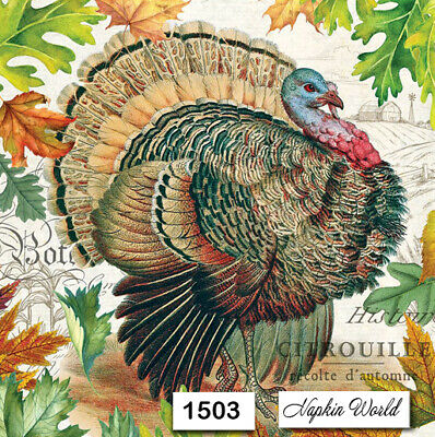 (1503) TWO Individual Paper Luncheon Decoupage Napkin - THANKSGIVING TURKEY FALL