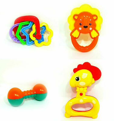 4pc Baby Star Plastic Hand Jingle Shaking Rock Bell Rattle Set Toddler Toy