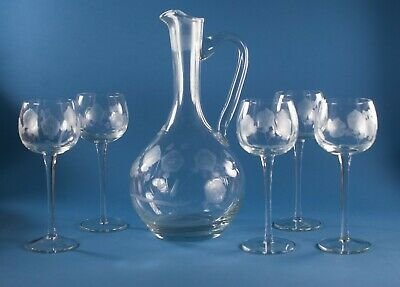 Floral Decanter & 5 Stems Glasses Wheel Cut Etch Set Bohemian