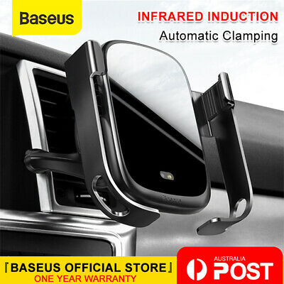 Baseus Qi Wireless Charger Electric Intelligent Car Air Vent Phone Holder Mount