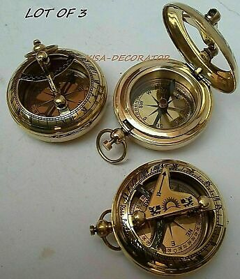 Collectible Lot Of 3 Brass Push Button Vintage Maritime Sundial Pocket Compass