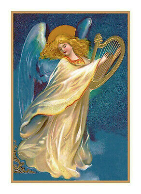 Victorian Vintage Christmas Angel #11 Harp Counted Cross Stitch Chart Pattern