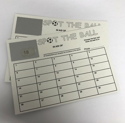 Pack Of 50 1-30 Numbered Spot The Ball Scratch Cards (Not Team) Fundraising