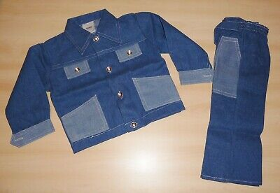 VINTAGE UNWORN 1970's BOYS BLUE DENIM LOOK JACKET & TROUSER SUIT 5 to 8 YEARS