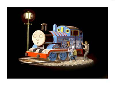 """BANKSY Thomas the Tank Engine getting Tagged A3 CANVAS PRINT 18""""X 12"""" poster"""