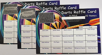 20 Name Darts Scratch Cards -Great For Fundraising, Events, Charity, Competition