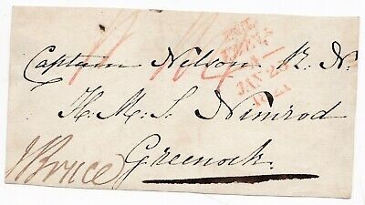 1821 UNFRAMED PAID AT EDINBURGH FRONT TO CAPt NELSON HMS NIMROD GREENOCK
