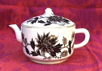 Rare Antique TEAPOT Black and Golden Flowers Poem Signed Chinese Porcelain 19thC