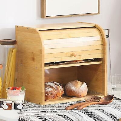 Natural Wooden Roll Top Bread Box Kitchen Bamboo Storage Bin