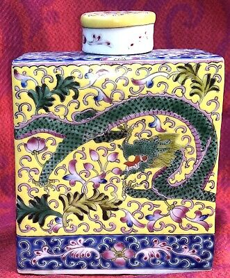 Nice Antique Tea Caddy Teapot Chinese Porcelain Dragons Late 19th Century