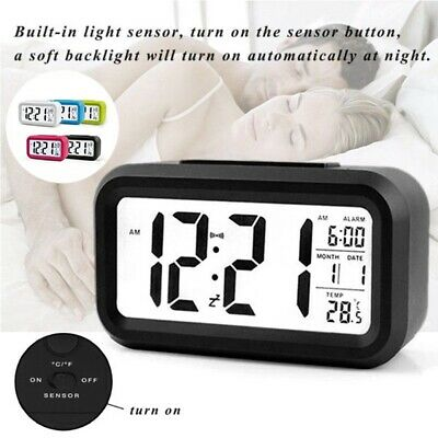 New Creative LED Digital Alarm Clock Night Light Thermometer Display Mirror Lamp