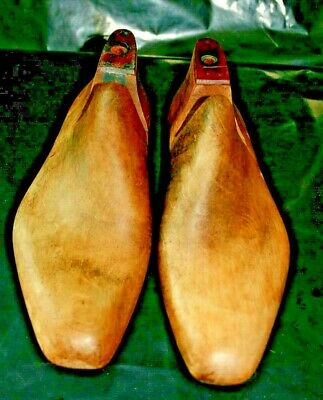 pair Vintage Wooden Shoe Last display props  shabby industrial chic