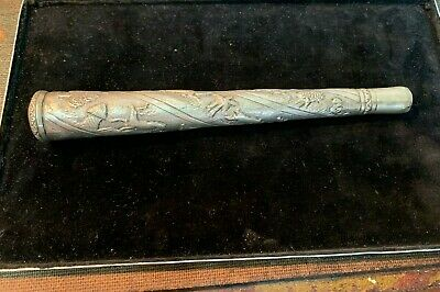 Old / Antique Parasol Handle. Embossed With Animals . Chinese / Oriental