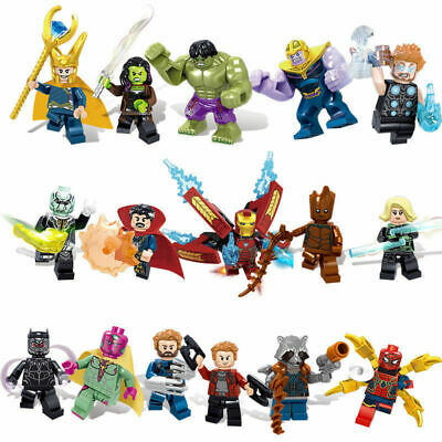 16Pcs Avengers Superheroes Thanos Hulk Iron Man Mini figures Building Blocks Toy