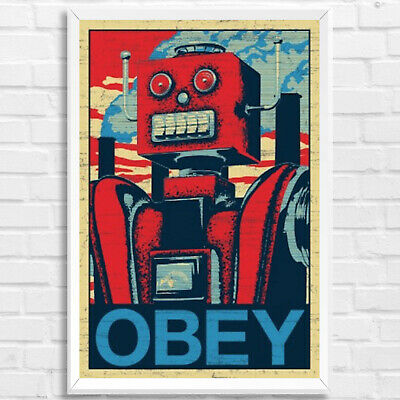 """Obey Robot Shepard Fairey Style Framed Art Print Poster Picture 91x61cm 36x24"""""""
