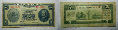 Netherlands Indies 5 Gulden Banknote 1943