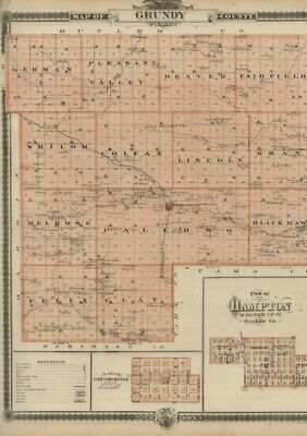 Grundy and Hardin County Iowa Maps (Back-to-Back); Authentic 1875 Item