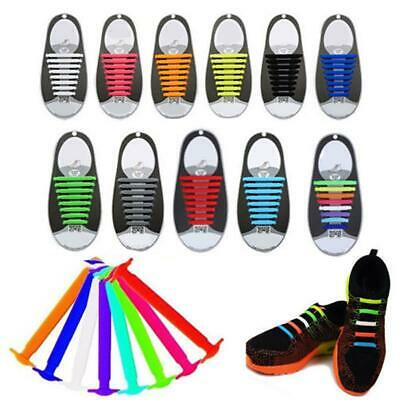 For Kids Adults Easy No Tie Rubber Shoe Laces Trainers Snickers Colored Shoelace