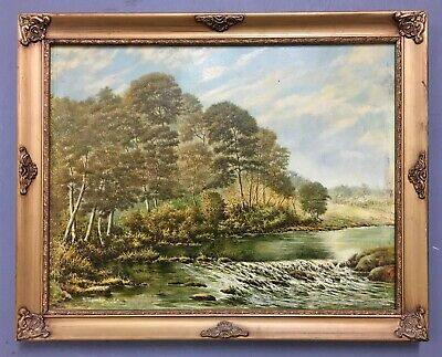 Large Antique Oil On Board Painting In Gold Gilt Frame, Signed