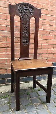 Antique Arts And Crafts Solid Oak Liberty Style Hall Chair
