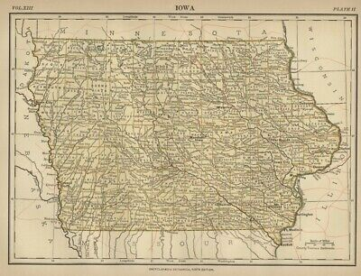 Iowa: Authentic 1876 Map: Counties, Cities, Topography, RRs: by W & AK Johnston
