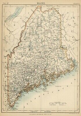 Maine: Authentic 1876 Map: Counties, Cities, Topography, RRs: W & AK Johnston