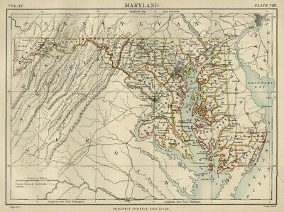 Maryland: Authentic 1876 Map: Counties, Cities, Topography, RRs: W & AK Johnston