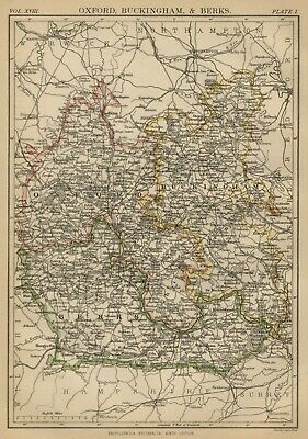 Oxford; Buckingham & Berks County England: Detailed 1889 Map: Towns, Cities, RRs