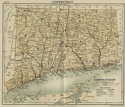 Connecticut: Authentic 1889 Map showing Counties, Cities, Topography, Railroads