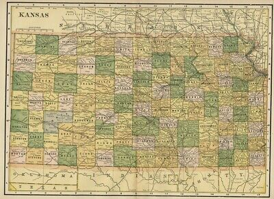 Kansas: Authentic 1889 Map showing Counties, Cities, Topography, Railroads