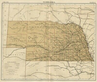 Nebraska: Authentic 1889 Map showing Counties, Cities, Topography, Railroads