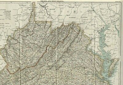 Virginia/ West Virginia: Authentic 1889 Map w/ Counties, Cities, Topography, RRs