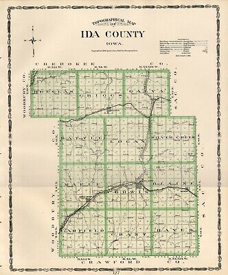IDA County Iowa Map Authentic 1904 (Dated) w/Towns, TWPs, RRs, Topography