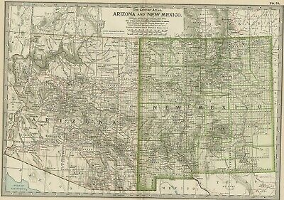 ARIZONA & NEW MEXICO Map: Dated 1897 with Towns, Counties, Railroads, Topography