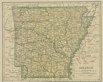 ARKANSAS Map: 100 Years Old showing Counties, Towns, Topography, Railroads