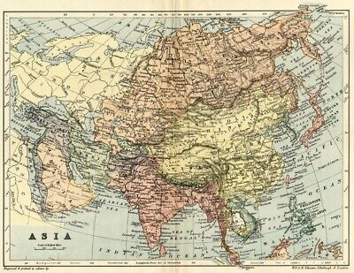 Asia Map: Authentic 1895; Interesting Country Names and Borders