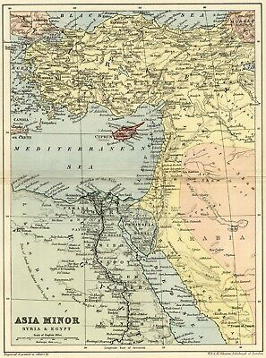Asia Minor Map: Authentic 1895; Turkey, Arabia, Northern Egypt, More