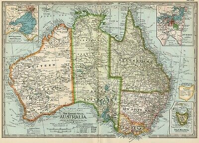 AUSTRALIA Map: Authentic 1897 (Dated) Towns; Counties; Topography, Railroads