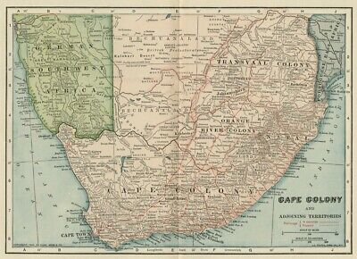 Cape Colony Africa & Surroundings Map: Authentic 1905 (Dated) Cities, Topo, RRs