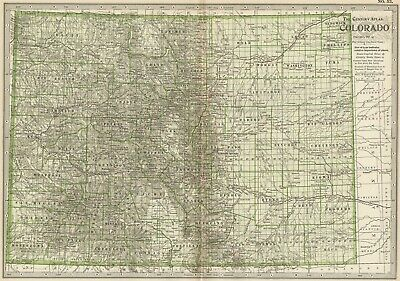 COLORADO Map: Authentic 1897 (Dated) Towns, Counties, Railroads, Topography