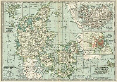 DENMARK & ICELAND Map: Authentic 1897 (Dated) Citiesg; Topo; Sea Routes; RRs