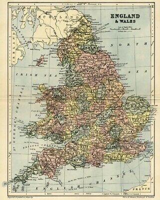 England & Wales Map: Authentic 1895; shows Cities, Counties, Topog, RRs