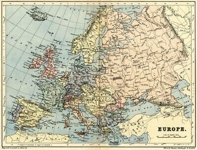 Europe Map: Authentic 1895; Showing Late 19th Century States & Boundaries