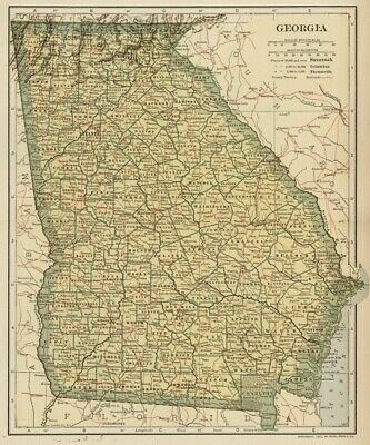 GEORGIA Map: Authentic 1907 (dated) with Counties, Towns, Topography, Railroads