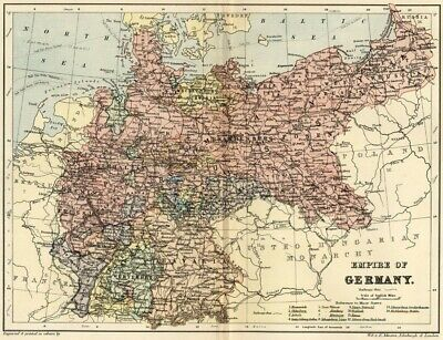 German Empire Map: Authentic 1895; Bavaria, Prussia, Silesia, Saxony +: RRs