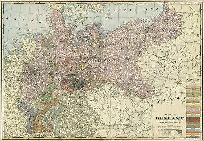 GERMANY Map: Authentic 1899: with Cities; Kingdoms; Duchies; RRs; Topography