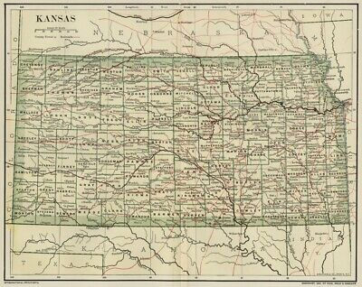 KANSAS Map: Dated 1891 showing Towns, Counties, Railroads with 1890 Populations